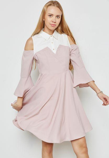 Contrast Yoke Cold Shoulder Dress