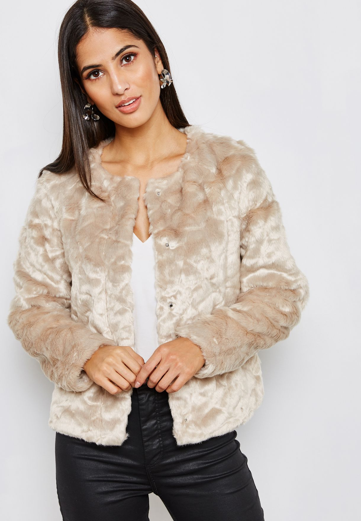5ed34c11aba Shop Only beige Faux Fur Jacket 15158735 for Women in UAE - ON544AT68SNB