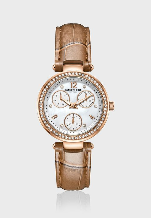 كينيث كول ساعة كلاسيك بسوار جلدي للنساء - KC51065003