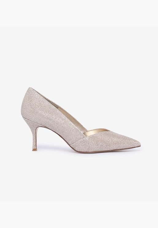 Shimmery Pointed Toe Stiletto Heeled Pumps - Gold