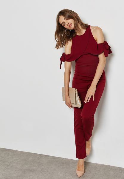 Ruffle Tie Cold Shoulder Jumpsuit