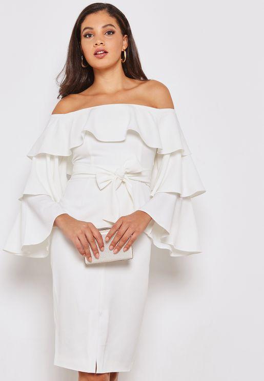 Ruffled Bardot Dress