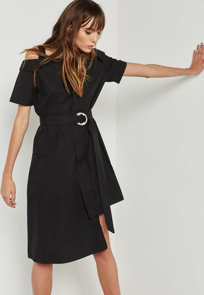 Cold Shoulder Ring Belted Dress