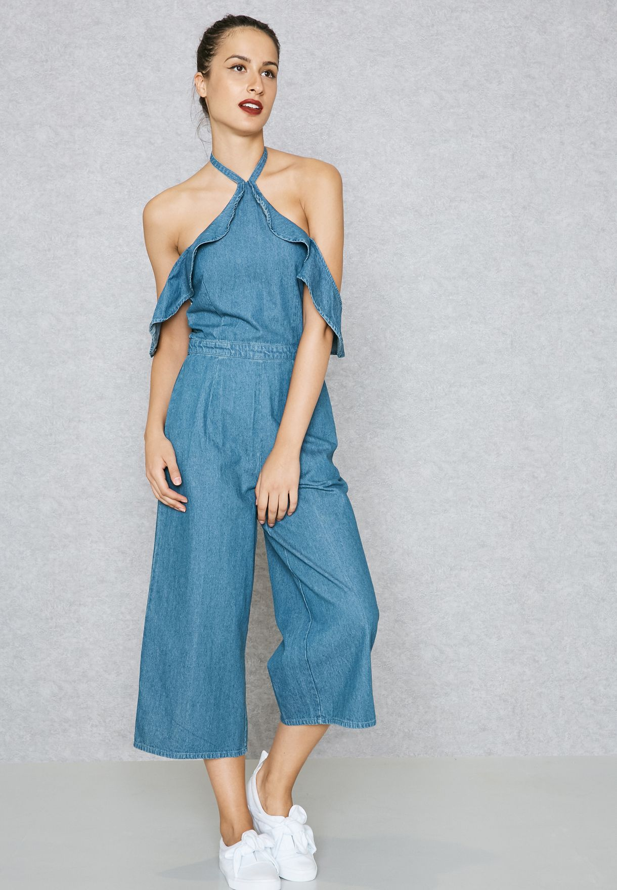 8382e625510b Shop Lost Ink blue Ruffled Detail Halter Neck Jumpsuit ...