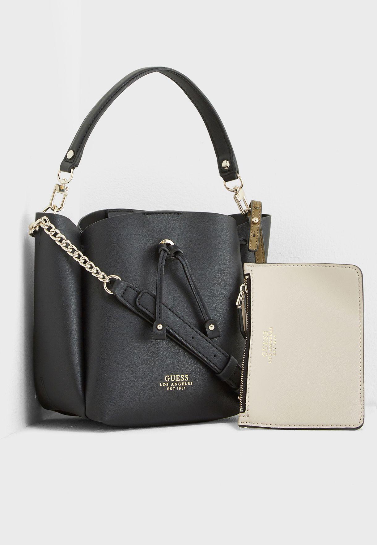 4d8549543 Shop Guess black Mini Ella Bucket Hobo VG709673BLA for Women in ...