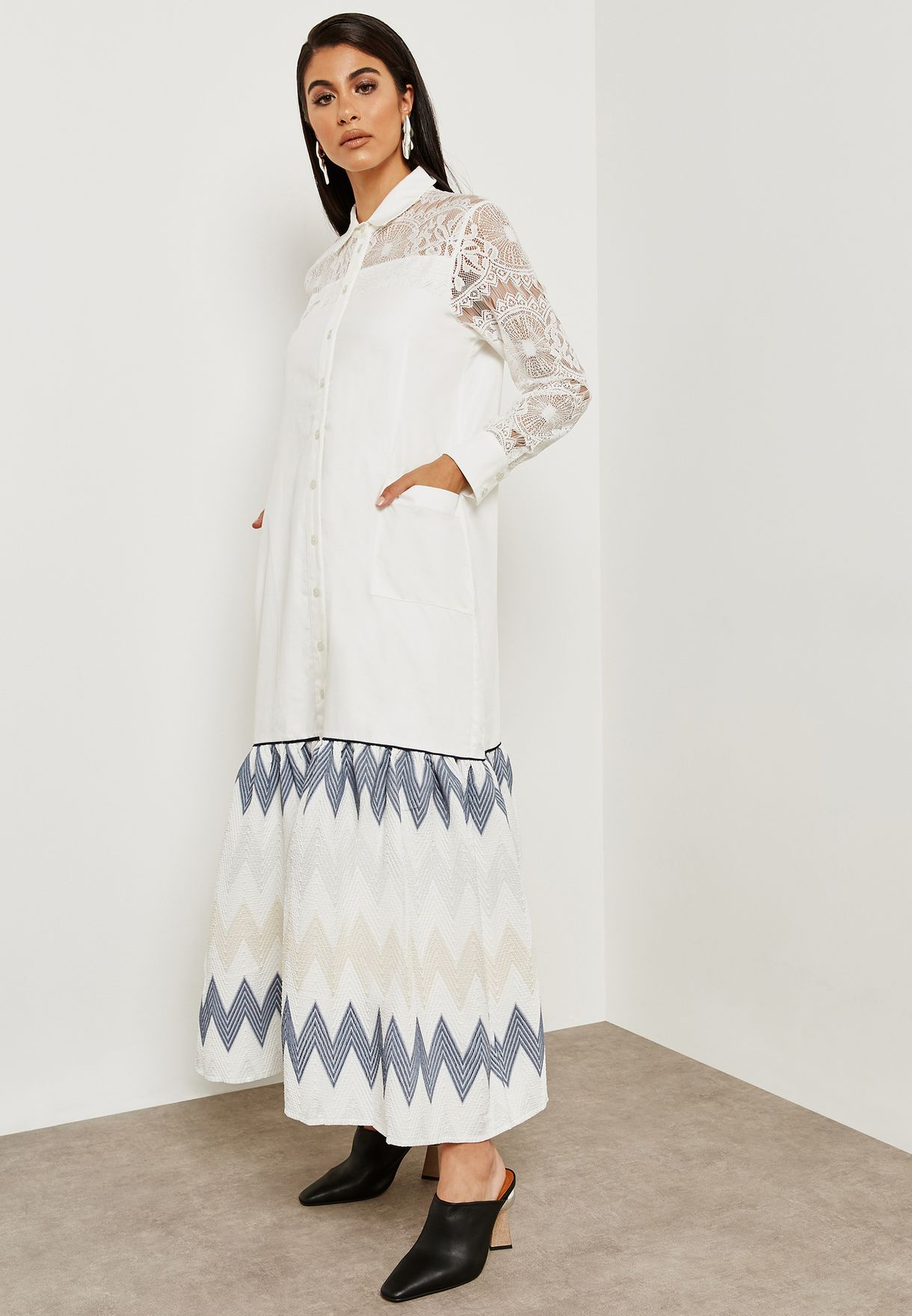 Button Through Lace Detail Maxi Dress