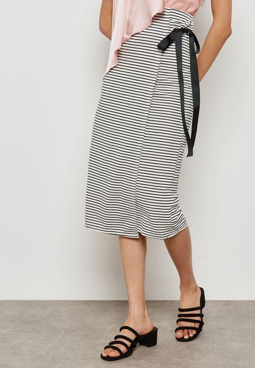 Striped Wrap Tie Detail Skirt