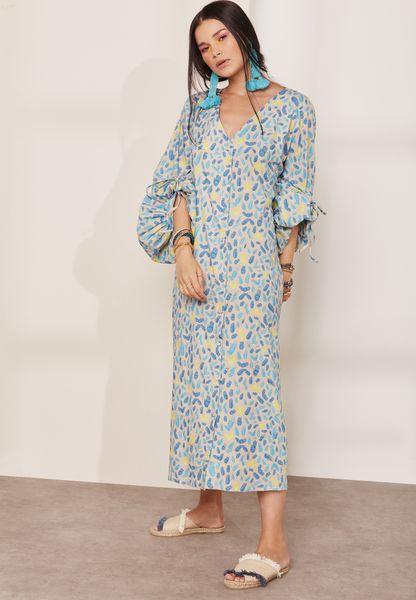 Tie Sleeve Printed Dress