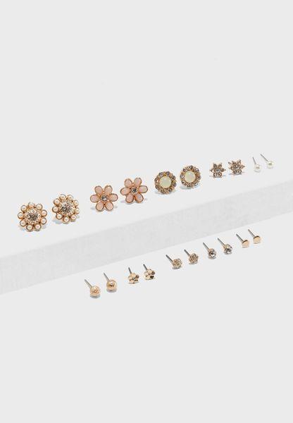 Floral Stud Earrings Pack Of 10