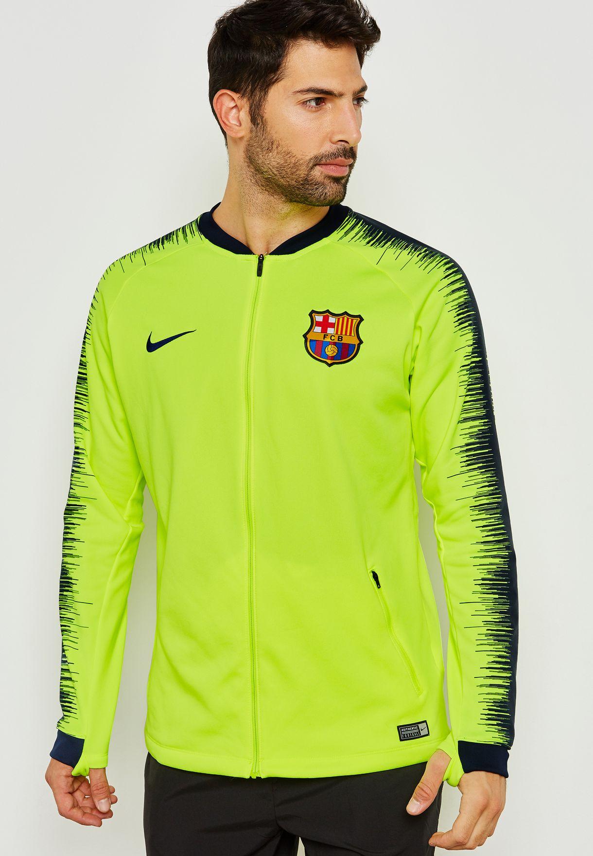 c34b44660 Shop Nike green FC Barcelona Anthem Jacket 894361-705 for Men in ...