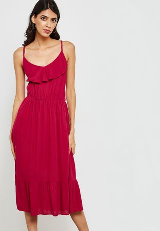 4d781b0a92 Shop Threadz red Off Shoulder Ruffle Dress N10 for Women in UAE ...