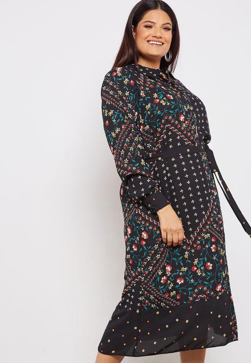Patchwork Print Midi Shirt Dress