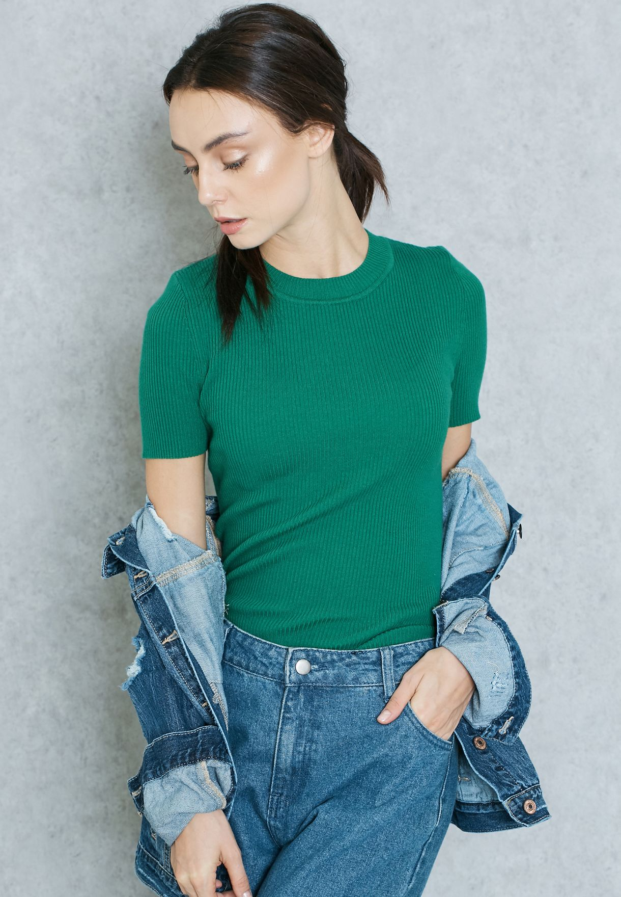 1b25d793091a Shop Forever 21 green Ribbed Mock Neck Top 169528 for Women in UAE ...