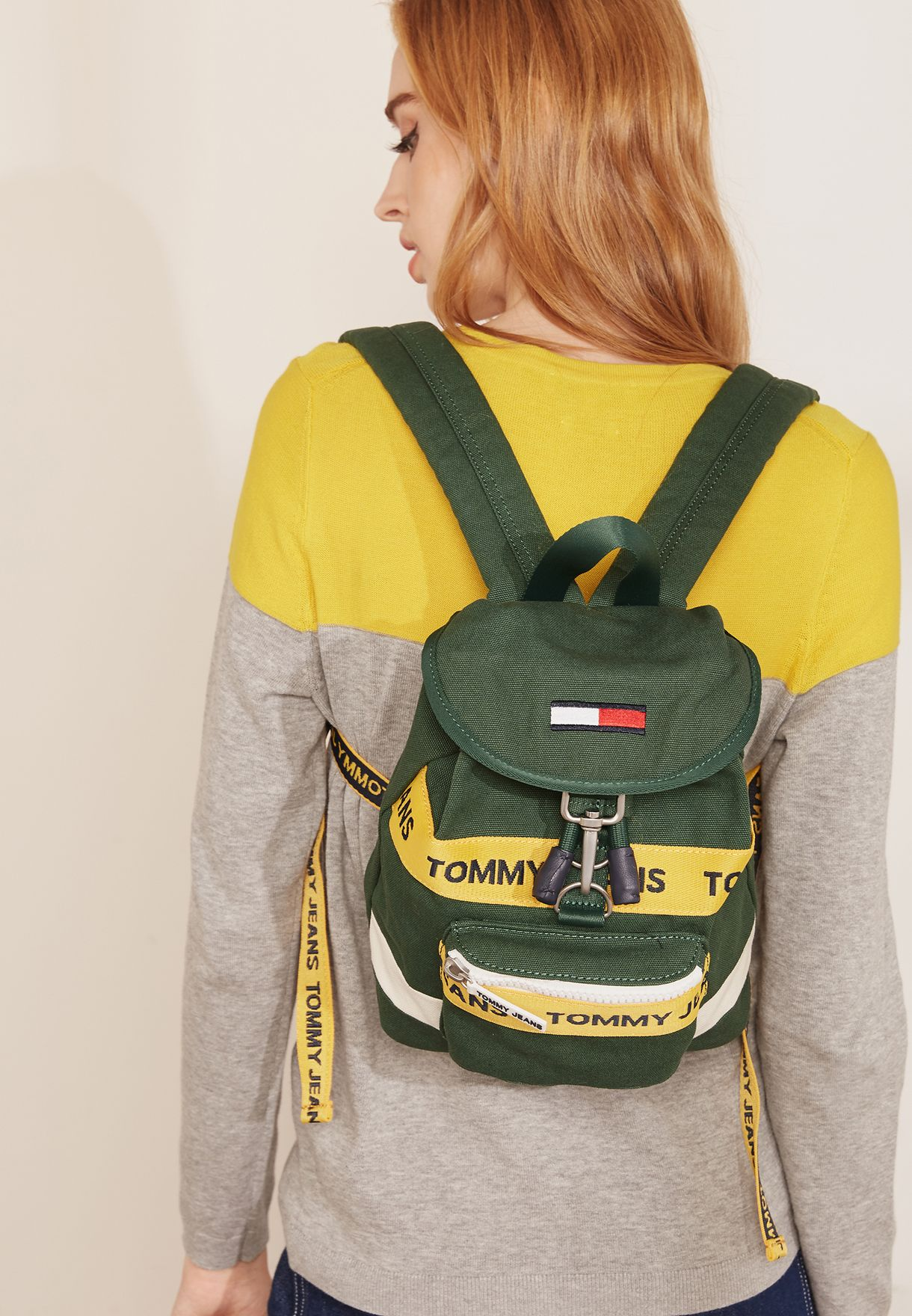 179b86d8f91 Shop Tommy Jeans green Mini Heritage Backpack AU0AU00339 for Women ...