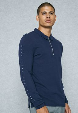 Rite Of Passage Print Half Zip  Polo