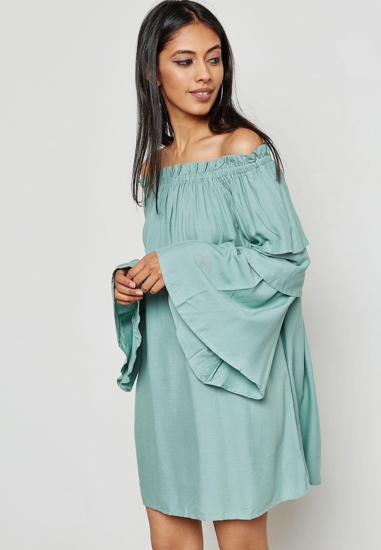 a2a5ef6f8b99 Shop Missguided blue Layered Sleeve Bardot Shift Dress DD910319 for Women  in Bahrain - MI669AT68ZBN