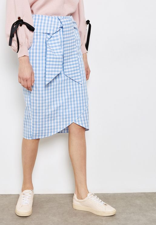 Checked Tie Front Skirt
