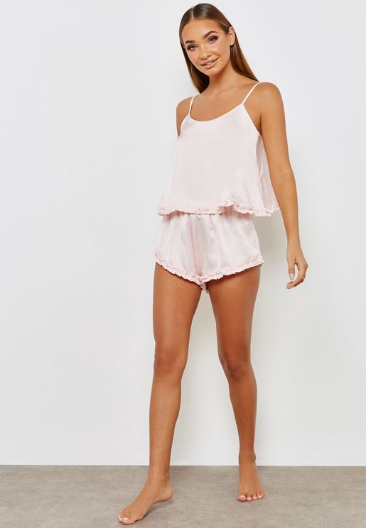 Ruffle Hem Cami Top & Shorts Set