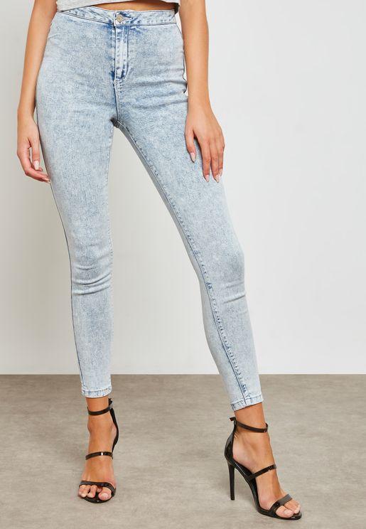 Vice High-Waisted Acid Wash Skinny Jeans