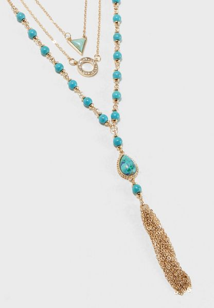 Tassel Drop Layered Necklace