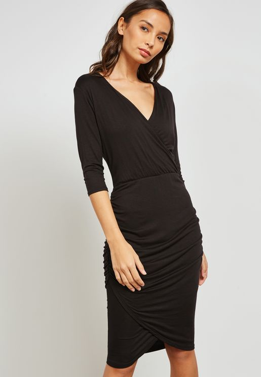 Wrap Front Draped Midi Dress
