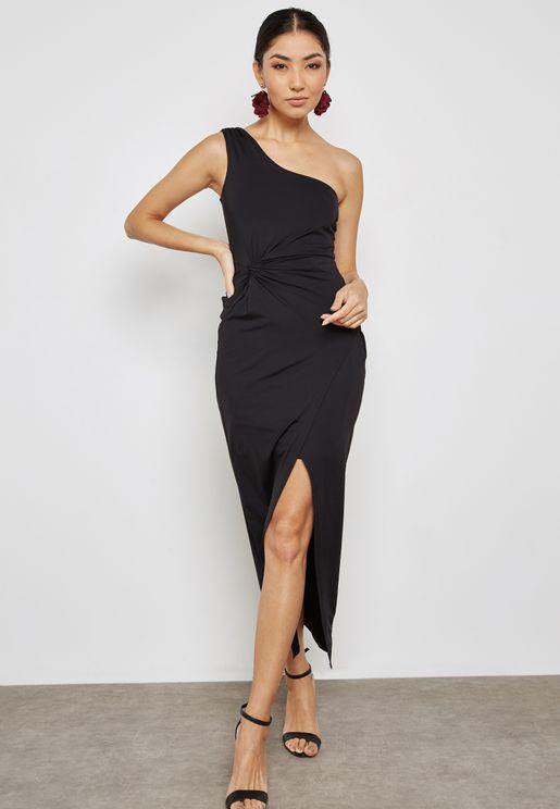 Front Split One Shoulder Ruched Dress