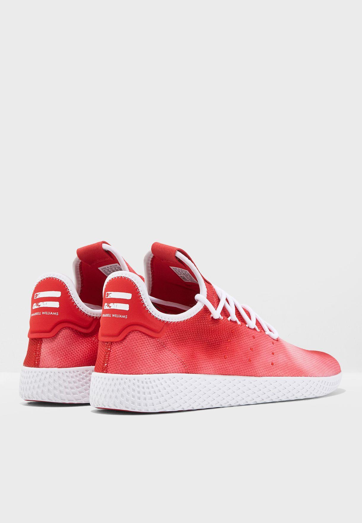 c06f848e2d8ba Shop adidas Originals red Pharrell Williams Hu Holi Tennis DA9615 ...