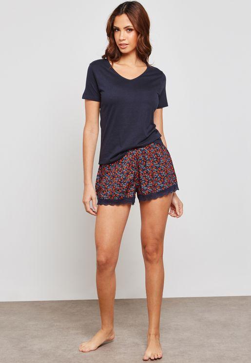 Scallop Top Pyjama Short Set