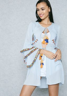 Layered Sleeve Embroidered Cardigan