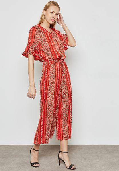 Printed Ruffle Sleeve Jumpsuit