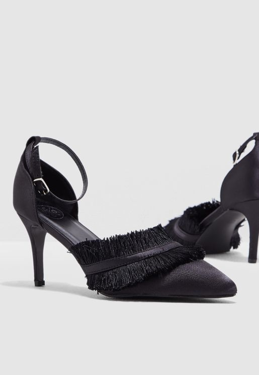 Shelby Frayed Ankle Strap Pumps