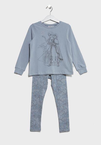 Little Frozen T-Shirt + Pyjamas Set