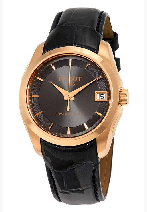 ساعة تيسو كوتورييه بسوار جلدي - T035.207.36.061.00