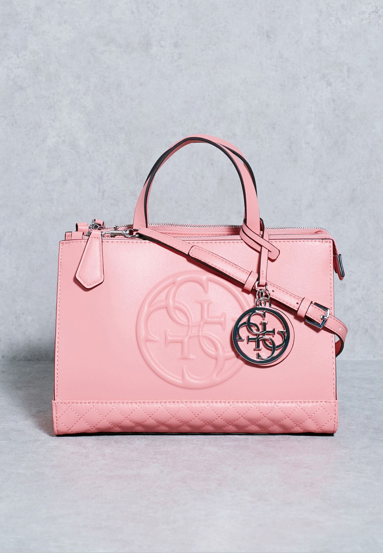 8605a23071b Shop Guess pink Korry Status Satchel VY617235 for Women in Saudi -  GU094AC58QMB