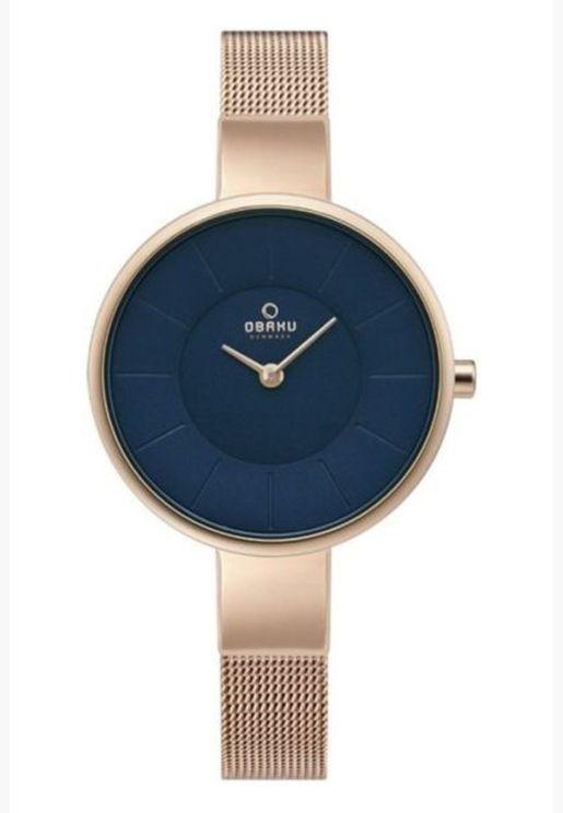 ساعة اوباكو سول للنساء بسوار شبكي - V149LXVLMV