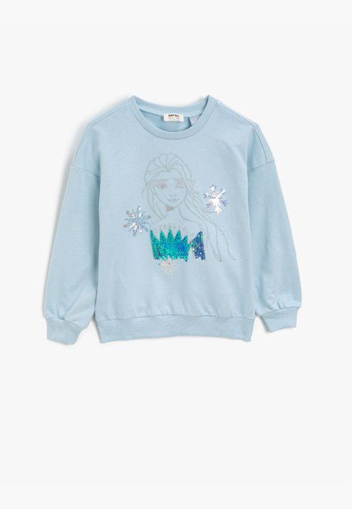 Frozen Licensed Sequinned Cotton Crew Neck Long Sleeve Sweatshirt