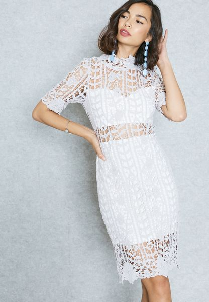 Sheer Detail Lace Bodycon Dress