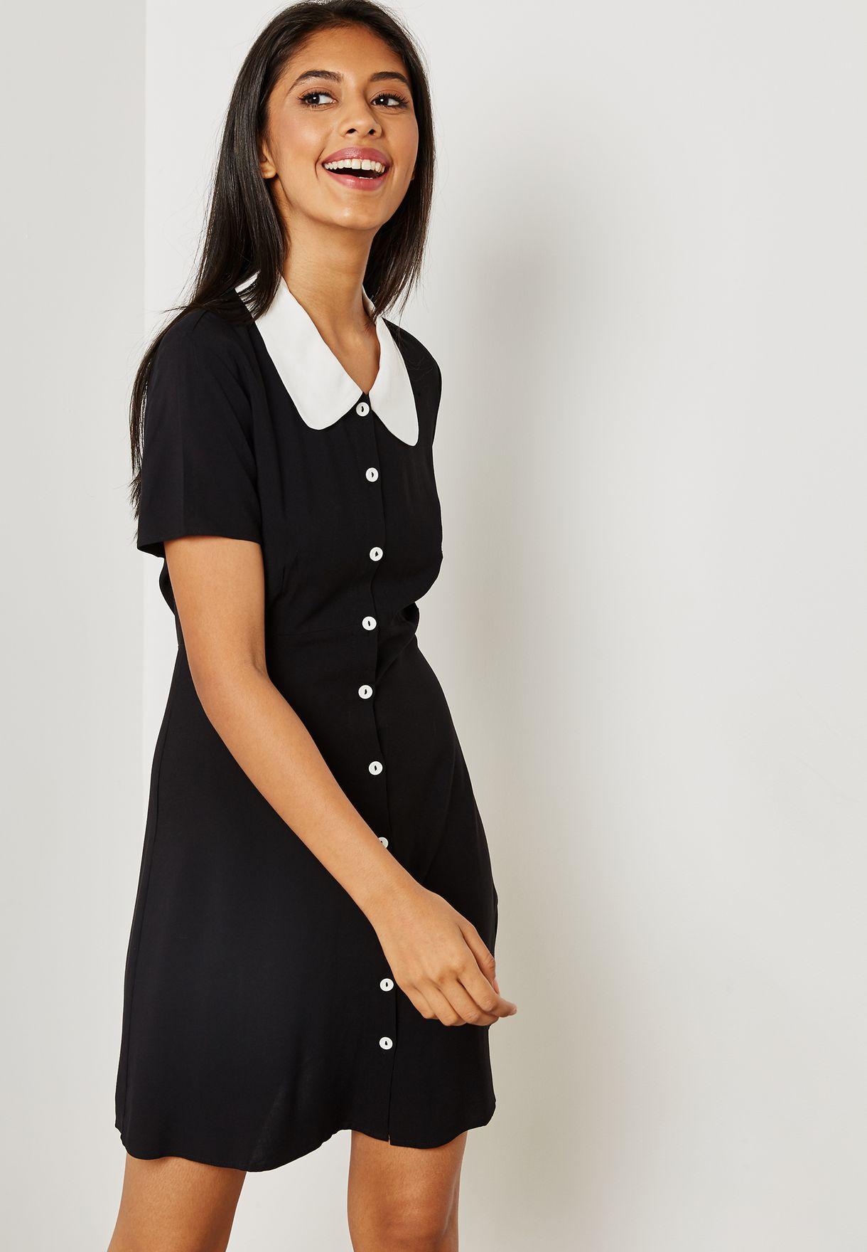b411c03d415 Shop Forever 21 black Button Detail Shirt Dress 283852 for Women in ...