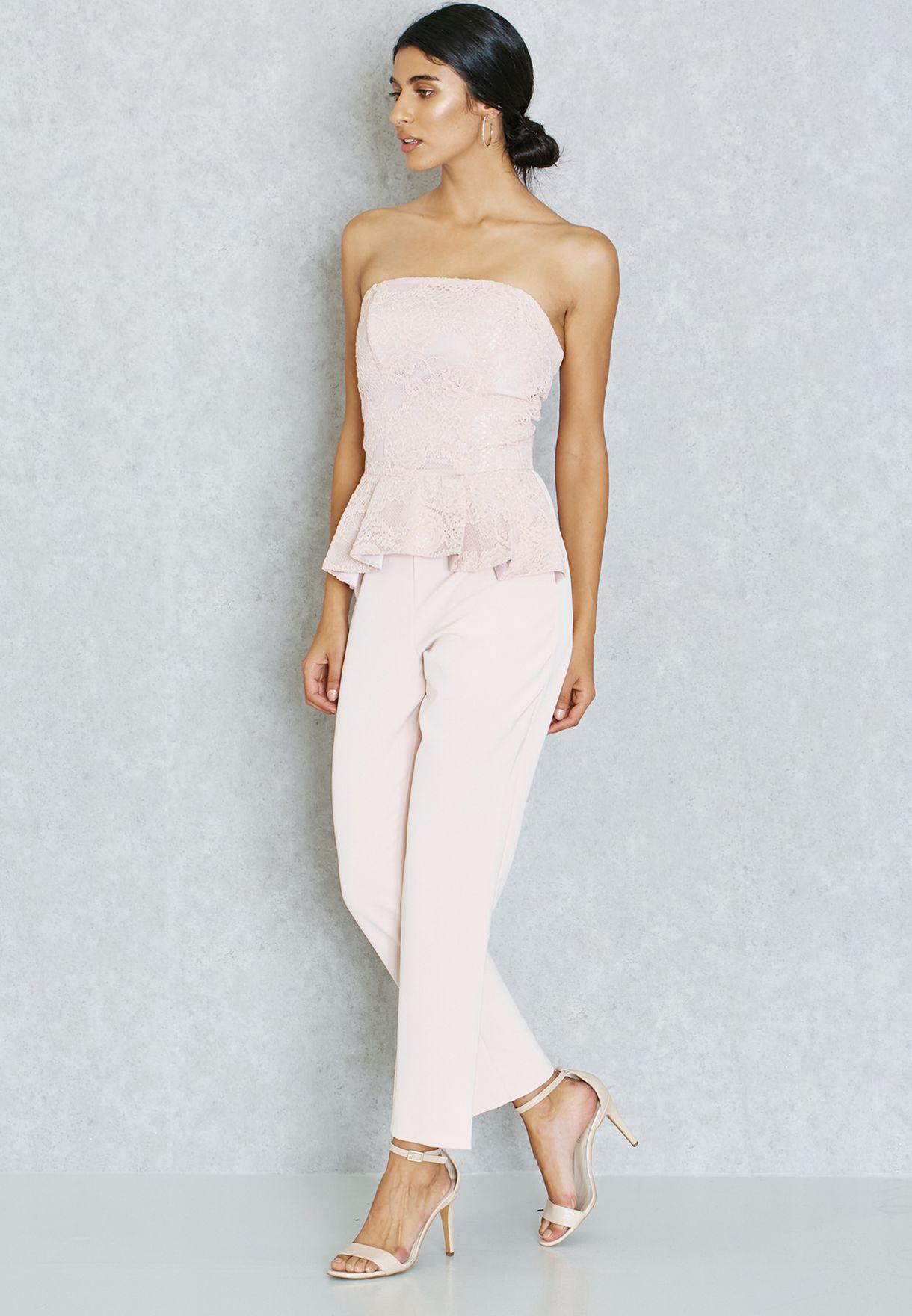 cbff31233d6b Shop Miss Selfridge pink Lace Peplum Jumpsuit 10J02TPNK for Women in ...