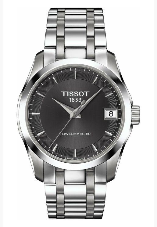 ساعة تيسو كوتورييه أوتوماتيكية بسوار فولاذي للنساء - T035.207.11.061.00