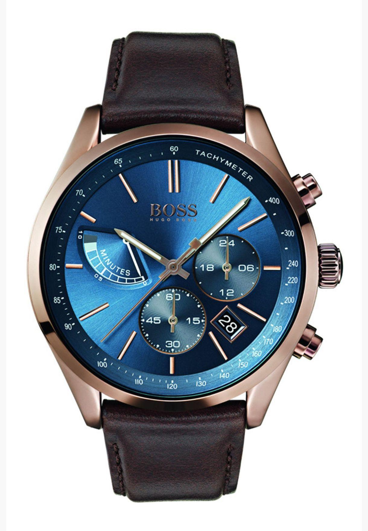هيوغو بوس ساعة غراند بسوار جلدي للرجال - 1513604