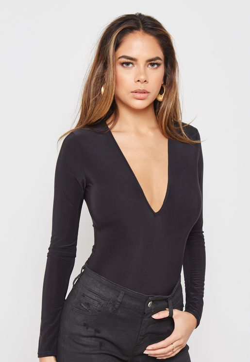 Long Sleeve Slinky V-Neck Body