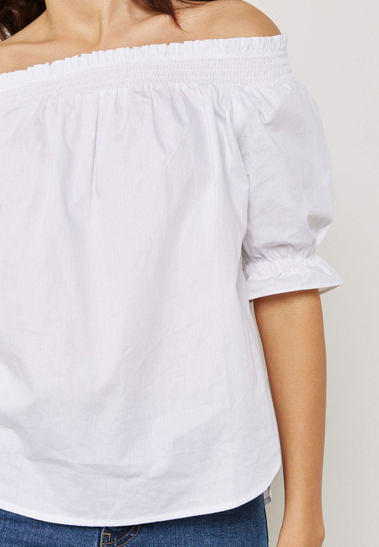 Frill Sleeve Detail Bardot Top