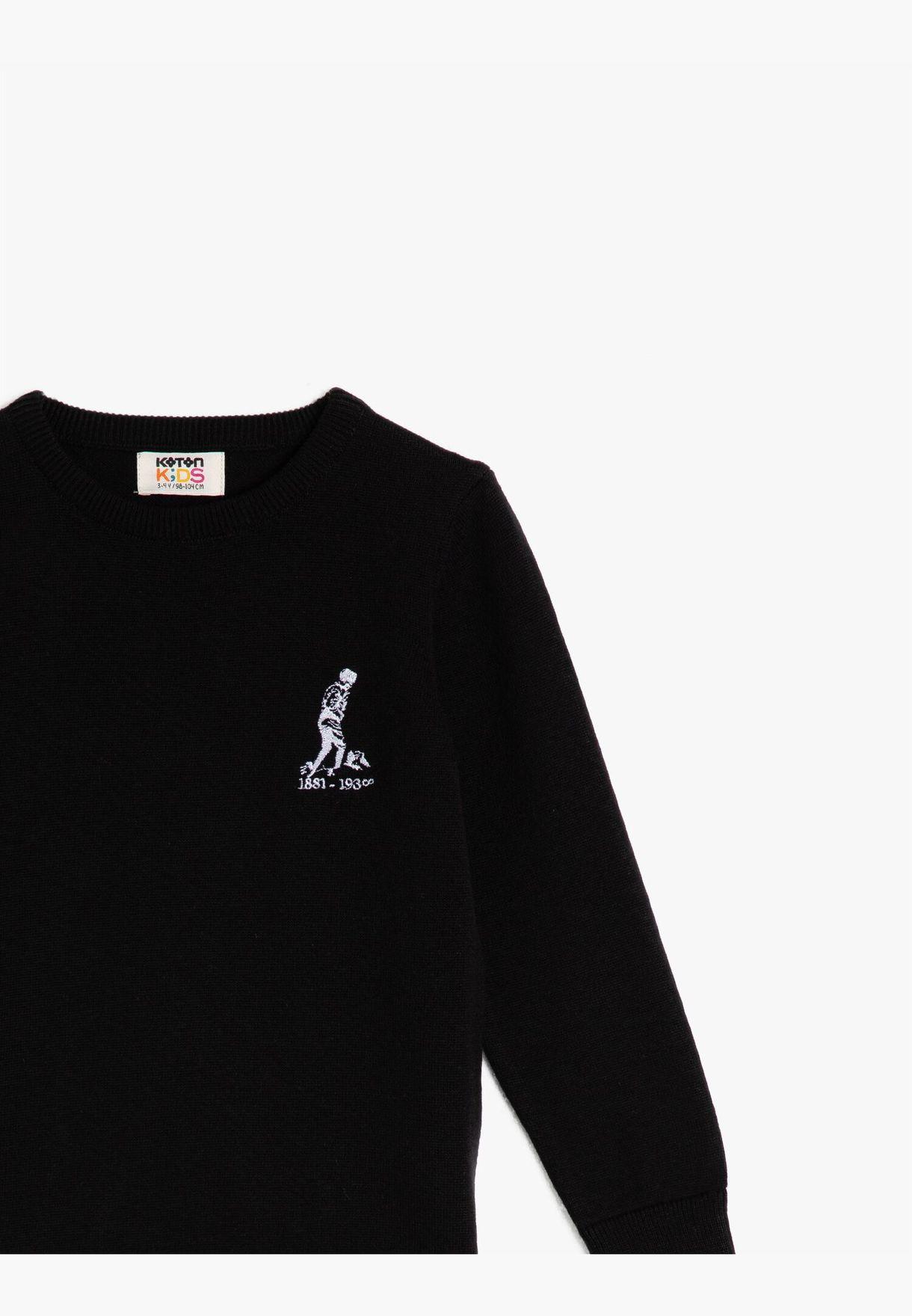 100% Cotton Crew Neck Long Sleeve Atatürk Printed Jumper