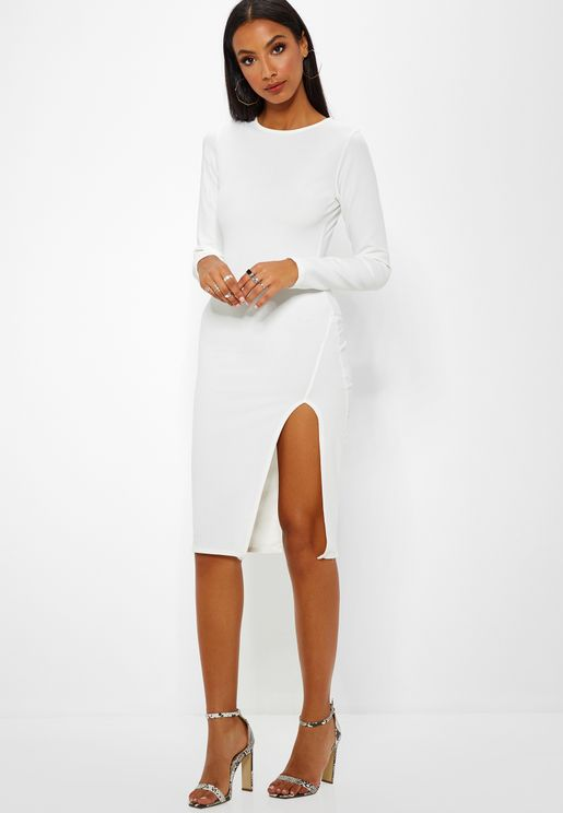 Side Split  Midi Dress