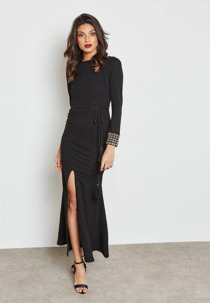 Embellished Cuff Maxi Dress