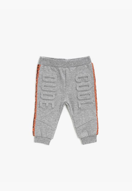 Sriped Letter Printed Jogging Pants