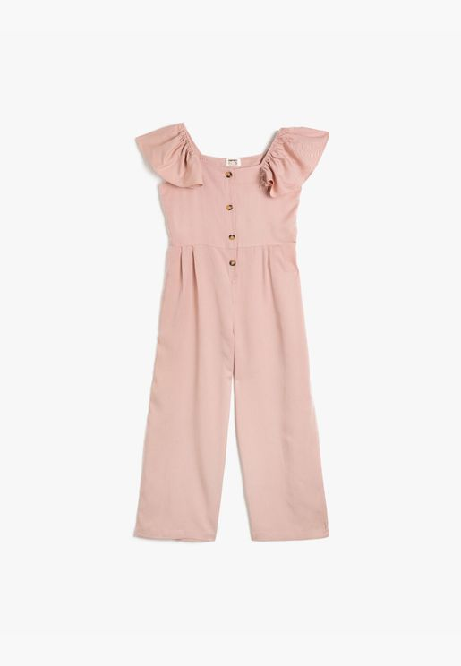 Buttoned Frilled Jumpsuit
