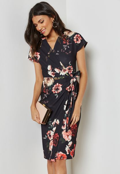 Floral Print Belted Wrap Dress