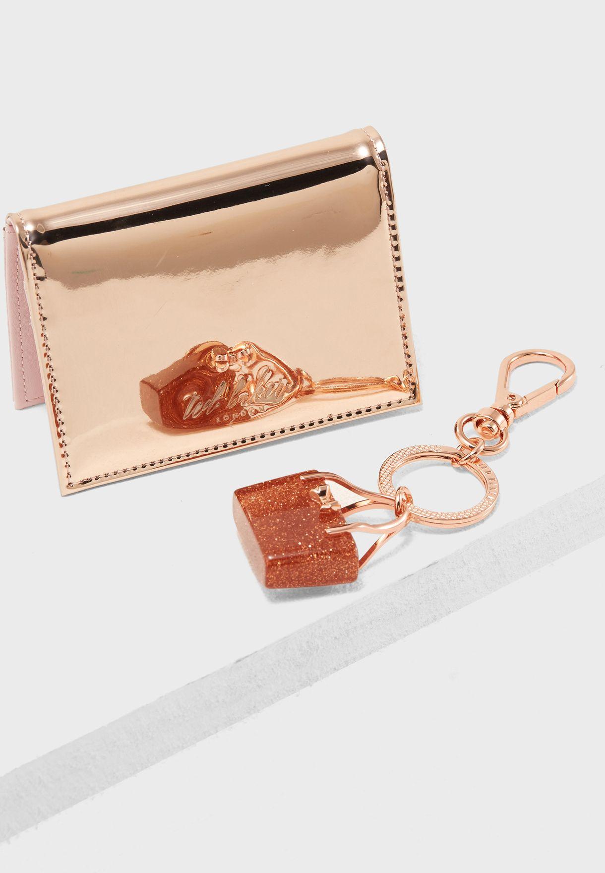 d8a347a705 Shop Ted baker pink Card Holder + Key Ring Gift Set WXG-CAAROLL-DA7W ...